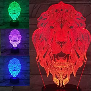 3D Lion Animal Night Light USB Touch Switch Decor Table Desk Optical Illusion Lamps 7 Color Changing Lights LED Table Lamp Xmas Home Love Brithday Children Kids Decor Toy Christmas Gift