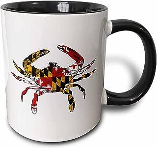 3dRose 193242_4 Maryland Crab Flag Two Tone Mug, 11 oz, Black