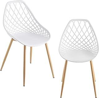 [en.casa] Set de 2 Chaises Designs Chaise de Salle à Manger Siège en Plastique Pieds en Métal Effet Hêtre Couleur Blanche ...