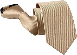 Zipper Tie for Big Boys Mens Wedding Solid Color Designer Skinny Pre-tied Neckties by Elfeves