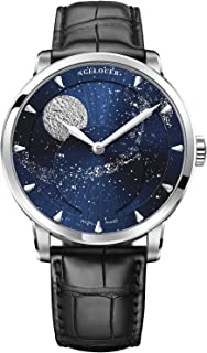Luxury Brand Blue Men's Watch Automatic Mechanical Stainless Steel Watch Sports Leather Moon Phase Military Automatic Watches for Mens