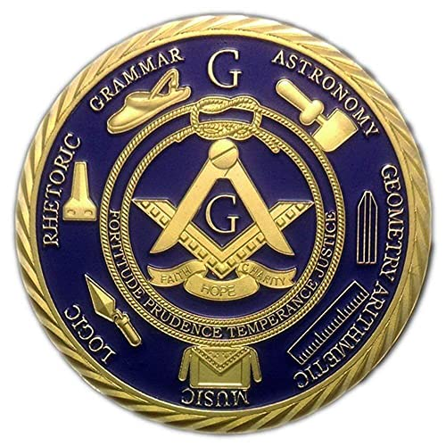 1 OZ Freemason Coins 24K Gold Coated by AtSKnSK Challenge Coins for Masonic