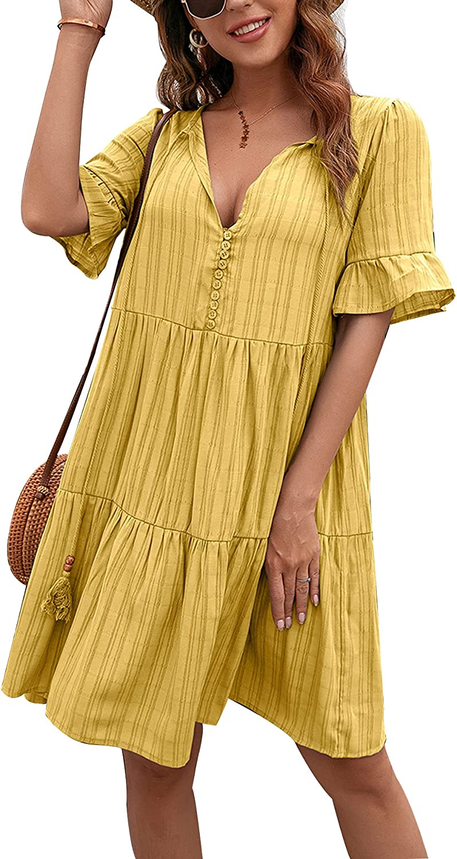 Lucuna Women's Summer Dress Ruffle Short Sleeve V Neck Mini Short Dress Loose Flowy Swing Tiered Babydoll Dresses