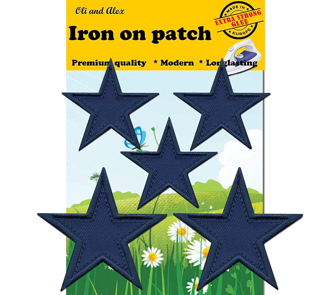 Iron On Patches - Blue Star Patch 5 pcs Iron On Patch Embroidered Applique A-172