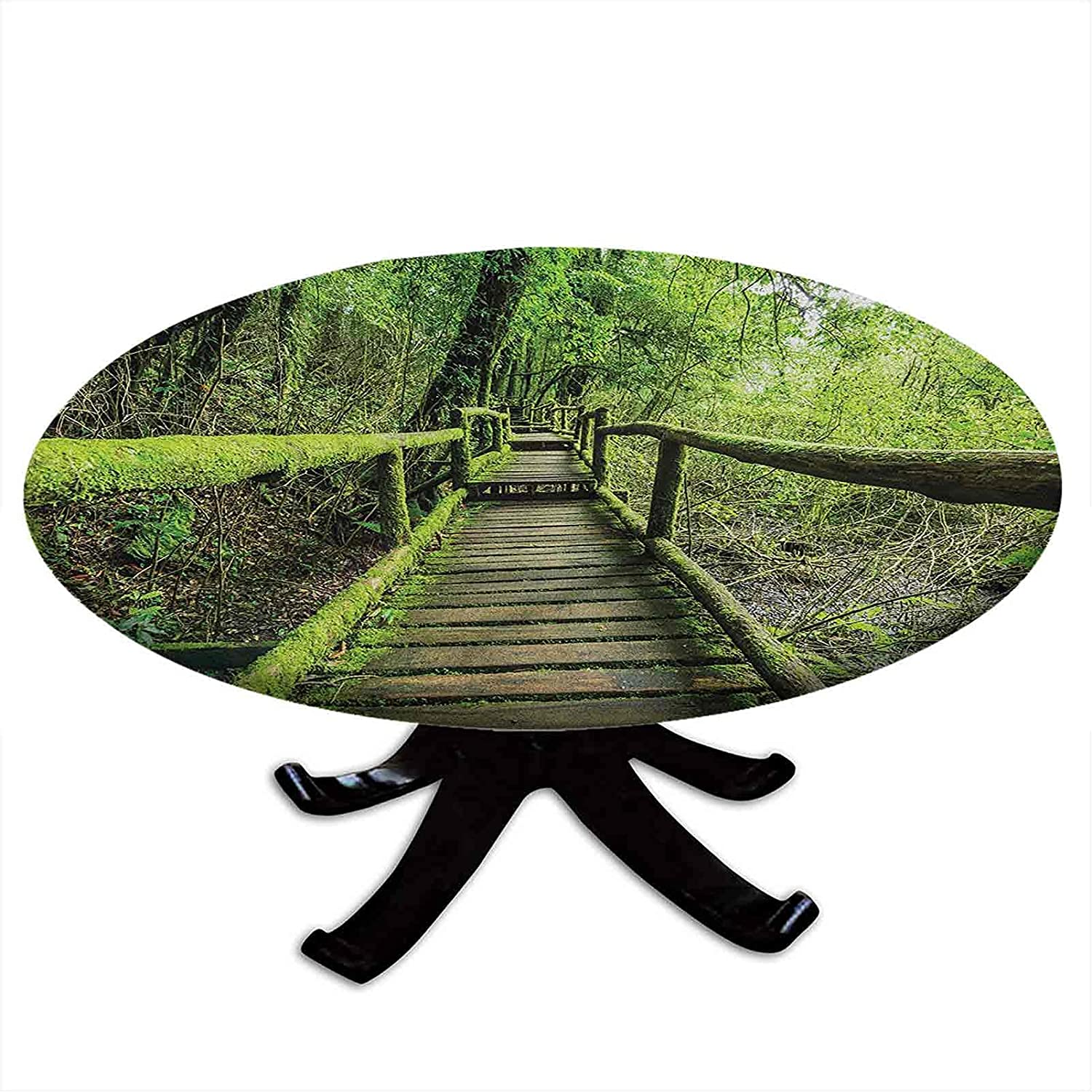 Round Fitted Regular discount New product type Rainforest Tablecloth Inthanon Mount in