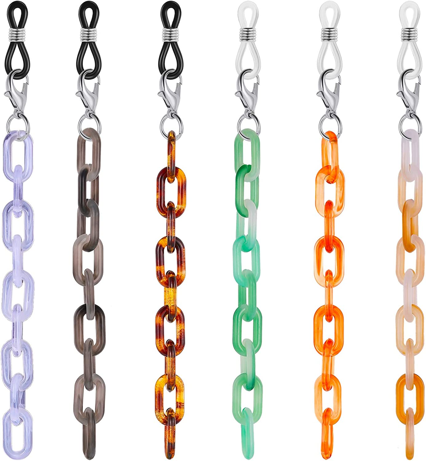 6 Eyeglass Chain Strap Holder Sunglass Chain, Acrylic Face Covering Holder Chain Necklace Lanyard