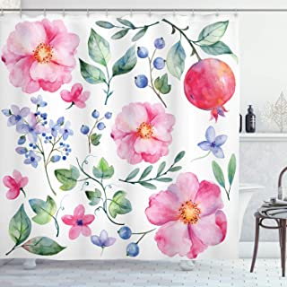 Ambesonne Flower Shower Curtain, Natural Botanic Garden Plants with Roses Leaves and Pomegranates Romantic Image, Cloth Fabric Bathroom Decor Set with Hooks, 84