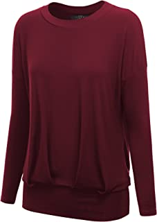 Women's Long Sleeve Dolman Top with Shirring - Made in USA