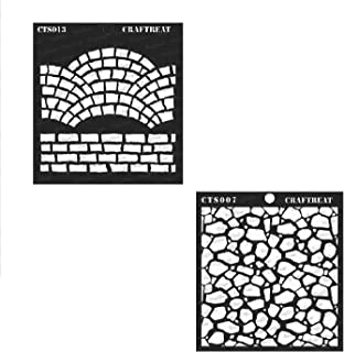 CrafTreat Stencil - Fancy Bricks and Stone Background (2 pcs) - Reusable Painting Template for Home Decor, Crafting, DIY Albums, Scrapbook and Printing on Paper, Floor, Wall, Fabric, Wood 6x6 inches