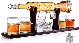 DYJD 800Ml AK-47 Pistolet Grande Décanteuse Set Lunettes De Balle, Carabine Élégant, Carafe De Whisky avec 4 Bullets De Wh...