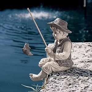 Gone Fishing Boy European Cou Ntry House Cartoon Character Garden Gardening Ornaments Jardineria Decoracion Yard Garden Decor,The Little Fisherman Boy Fishing Garden Statue,Creative Children Statue