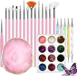 Hars Nail Art Palette, Kalolary Cosmetic Artist Mixing Palette met Fijne Detail Acryl Schilderen Penselen Nail Art Dot Pen...