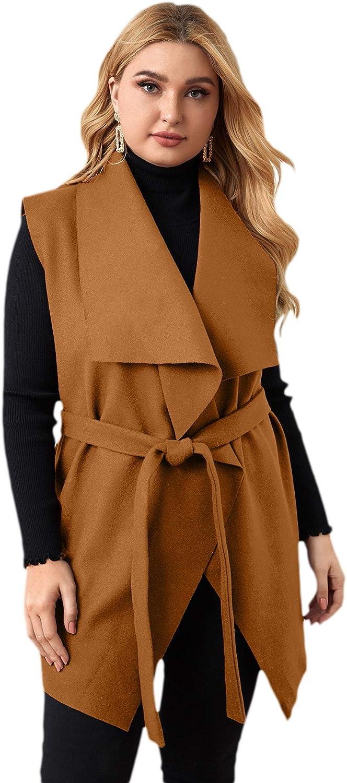 WDIRARA Women's Plus Size Open Front Sleeveless Belted Vest Cardigan Jacket