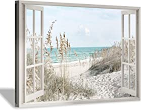 "Hardy Gallery Coastal Beach Picture Wall Art: Beach Theme Window Canvas Art Prints Seascape Artwork for Bedroom (36"" x 24""..."