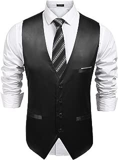 COOFANDY Men's Pinstripe Suit Vest Slim Fit Casual Business Waistcoat Jacket Vests