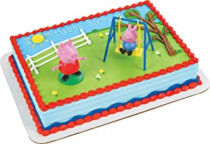 Decopac Peppa Pig Swing Set DecoSet Cake Decoration Topper Pink, 3.2