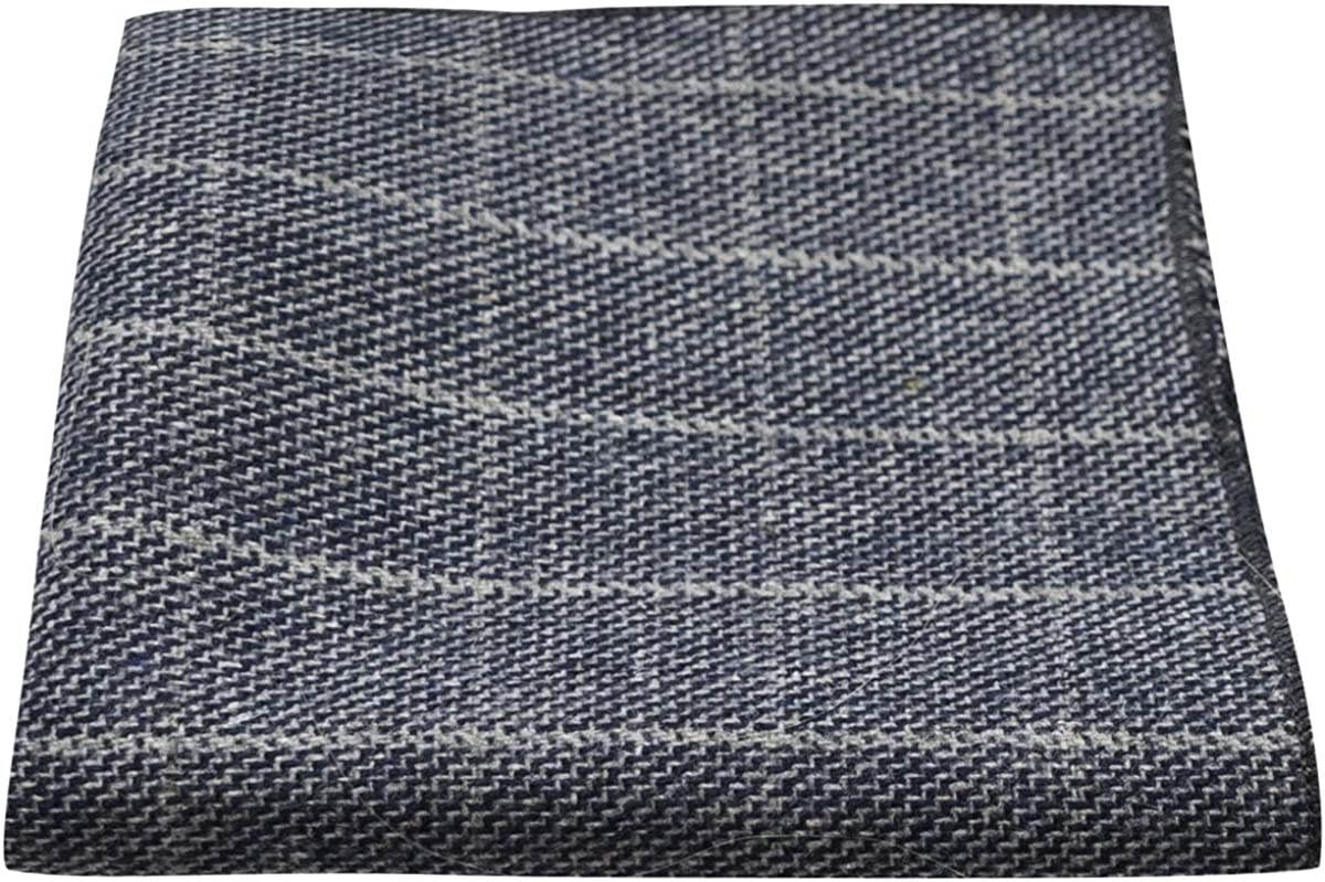 Stone Blue Birdseye Check Pocket Square, Handkerchief