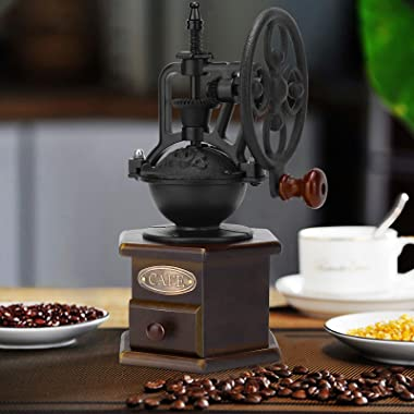Manual Coffee Grinder, IMAVO Wooden Coffee Bean Grinder Manual Coffee Grinder Roller, Antique Coffee Mill with Cast Iron Hand