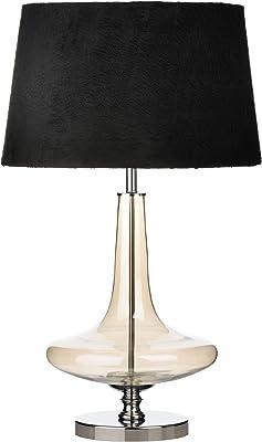 Premier PREM-2501402 Lampada da Tavolo, Cromo/Tessuto/Vetro, Nero