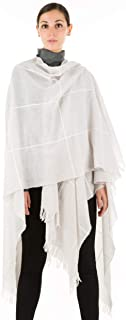 Ultra Light Macro Checked Pattern Fringed Wool Poncho Cape - 100% Made in Italy