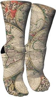 remmber me, Mundo vikingo Mapa antiguo de Noruega Calcetines tripulados Calcetines locos Calcetines largos de tubo Novedad Diversión para mujeres Adolescentes Niñas