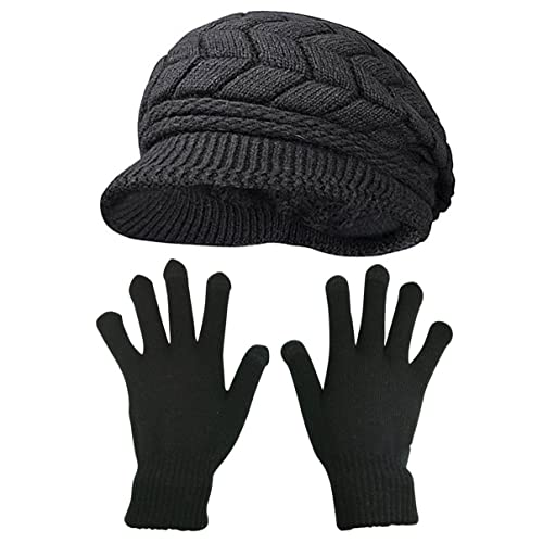 HINDAWI Winter Hats Gloves for Women Knit Warm Snow Ski Outdoor Caps Touch  Screen Mittens fc36d27d54bc