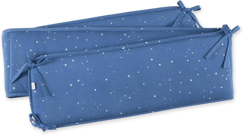 Bleu p/âle Frost Tour de lit Quilted 20 x 180 cm pour Lit de 60x120 et 70x140 cm Attache par nouettes