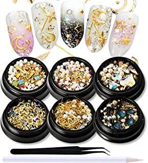 SILPECWEE 6 Boxes 3D Mix-shape Metal Nail Studs Big Gem Pearls Nail Art Rhinestone Nail Rivet Set Nail Jewels Decoration With 1Pc Tweezers And Picker Pencil