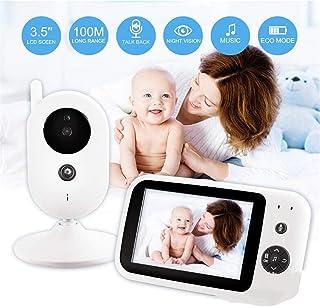 BABIFIS Monitor de 35 Pulgadas para bebés Dispositivo de Cuidado para bebés multilingüe visualización de la Temperatura visión Nocturna por el intercomunicador Reproducir música