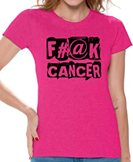 Women's Fuck Cancer T Shirts Tee Tops for Women for Cancer Awareness