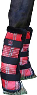 Kensington Natural Horse Fly Boots - Fleece Trimmed - Stay-Up Technology - Protection from Insect Bites and UV Rays - Sold in Pairs (2 Boots) - Large - Deluxe Red