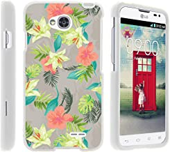 Case for LG Optimus L70 / LG Ultimate 2 L41C / LG Realm LS660 , Rubberized Snap On Shell Full Cover Case Slim Fitted White Cover with Unique Images, From TURTLEARMOR | 2 in 1 Combo Includes Clear Screen Protector and Case - Pink Yellow Flowers