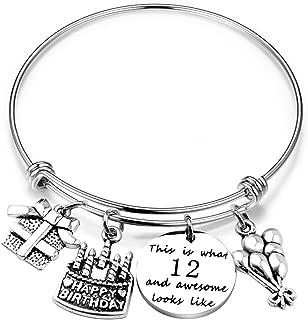 ENSIANTH Birthday Gift for Her Adjustable Birthday Bracelet Bangle with Birthday Cake Charm,10th 12th Sweet 16th 18th 21st 30th 39th 40th 50th Bangle Gift