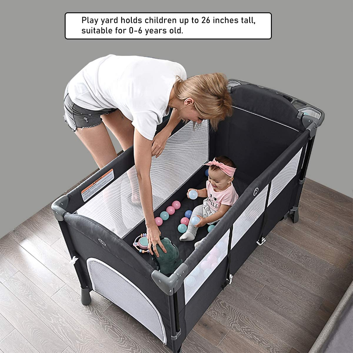 Buy 5 in 1 Bedside Bassinet Cribs, Portable Toddler Playpen Travel Crib, Foldable  Baby Cradle Sleeper with Bassinet Includes Mattress, Diaper Changing Table,  Removable Wheels, Hanging Toys Online in Vietnam. B08SM5VT91