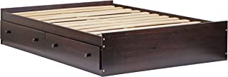 "100% Solid Wood Kansas Full Mate's Platform Storage Bed by Palace Imports, Bed Only, Java Color, 15""H x 57""W x 76""L, 13 Slats, 2 Drawers Included. Optional Bookcase Headboard, Rail Guard Sold Separately. Requires Assembly"