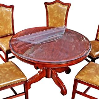 Large Clear Round Dining Table Protector Wood Furniture Tabletop Protective Cover Clear Plastic Tablecloth Round Soft Glass Desk Topper Chair Cursions Mat Pads Eco Polyester PVC Vinyl 52 Inch Diameter
