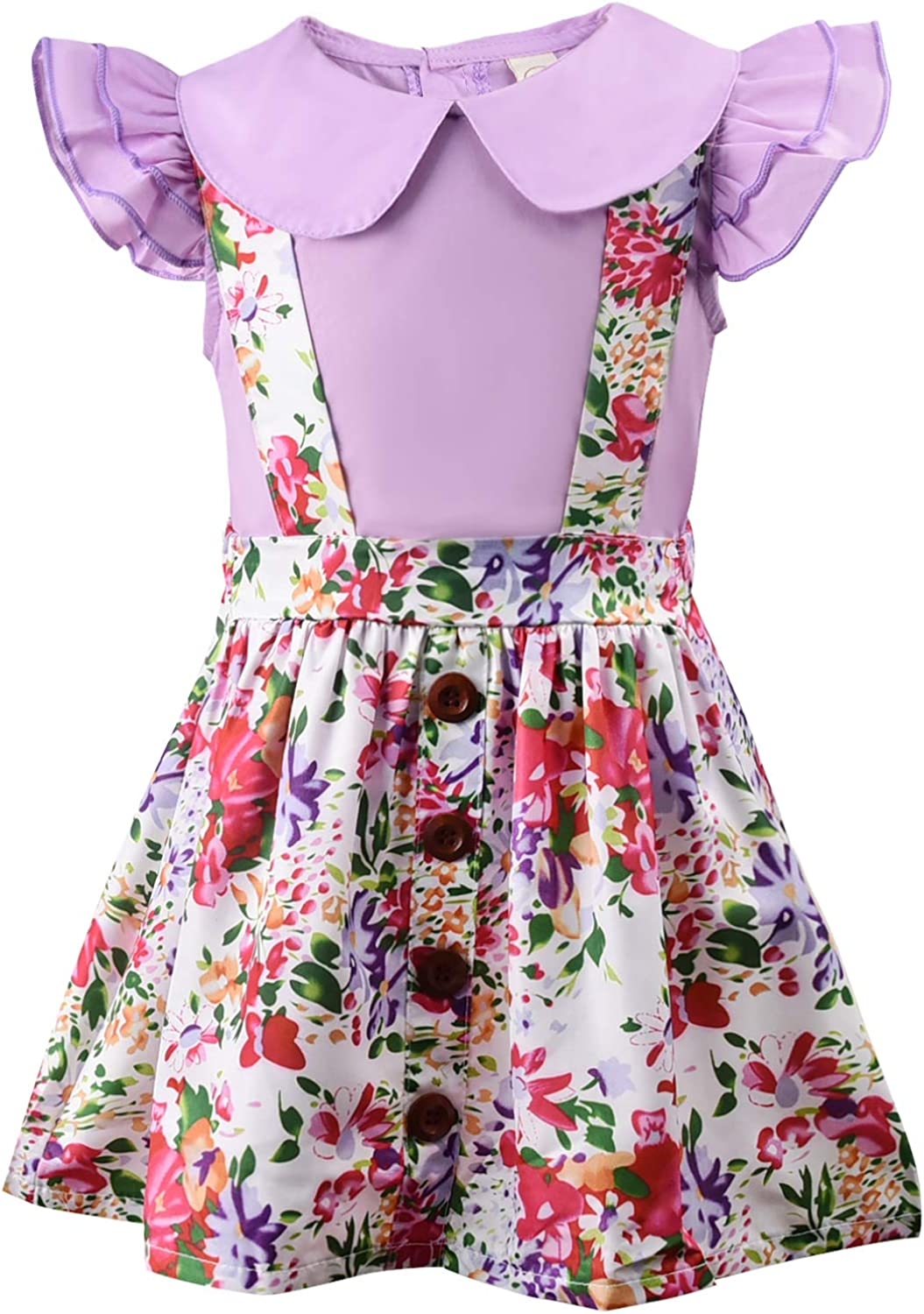 Toddler Baby Girls Summer Dress Ruffled Sleeve Top and Floral Suspender Skirt Sets: Clothing