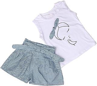 Fossen Ropa Niña Verano 2020-2 3 4 5 6 7 años - Color sólido Camiseta sin Mangas con Patrón + Pantalones Cortos a Cuadros - Moderna Conjunto de Dos Piezas