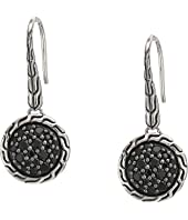 John Hardy - Classic Chain Round Drop Earrings on French Wire w/ Black Sapphire and Black Spinel