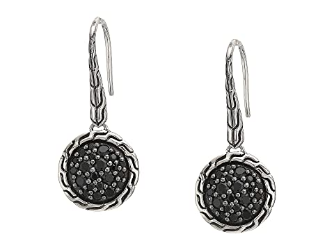 John Hardy Classic Chain Round Drop Earrings on French Wire w/ Black Sapphire and Black Spinel