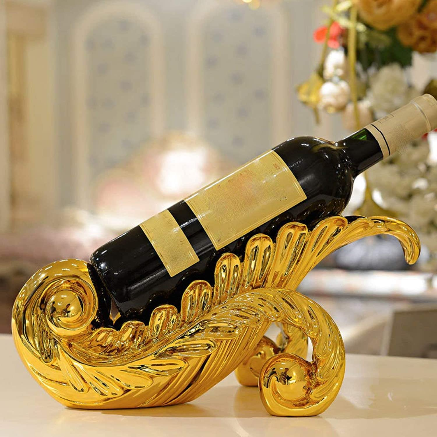 Red Wine Shelf Leaves Red Wine Racks Creative Fashion Personality Ornaments Ornaments Wine Racks,gold (color   gold)
