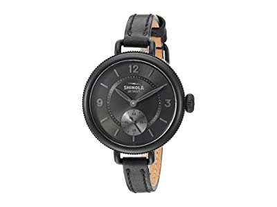 Shinola Detroit 34 mm Birdy Sub Second (Black/Black Leather Strap) Watches