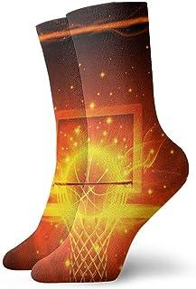 tyui7, Calcetines de compresión de baloncesto y aro de fuego Calcetines de compresión antideslizantes Cosy Athletic 30cm Crew Calcetines para hombres, mujeres, niños
