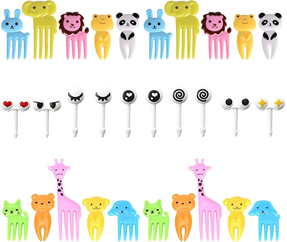 30Pcs Plastic Animals Food Fruit Picks Forks Bento Box Decor Set Lunch Box Decorative Cute Mini Cartoon Food Toothpick Cake Dessert Forks Random Color