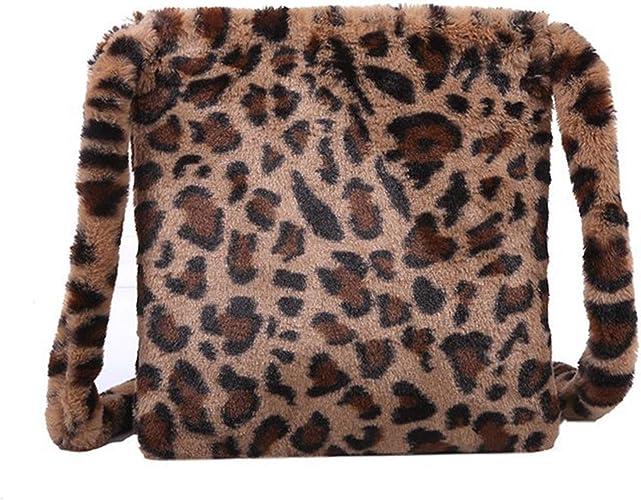SUVIA Flauschigen Winter Schultertasche Damen Pl/üsch Leopard Crossbody-tasche Flauschige Beuteltasche Casual Retro Mode Tasche f/ür M/ädchen