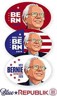 BlueRepublik 3 Pack - 4 x 6 Oval Bumper Stickers for Cars, Trucks and RVs. Bernie Sanders Bumper Sticker. Professionally Printed in USA with UV Resistant Inks, UV Protective Coating. Easy to Install.