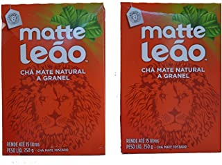 Leão - Mate Tea - Natural Matte Tea In Bulk - Toasted Mate Tea - 250g - 8.82 Oz (PACK OF 2)   Chá Matte Natural A Granel - Chá Mate Tosta