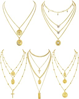 5 Pieces Layered Choker Necklaces Coin Pendant Multi Chain Necklace for Women