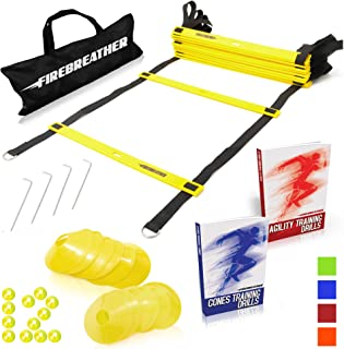 Agility Ladder and Cones by FireBreather. Great Training Equipment to Exercise Speed in Soccer, Football & Sports Workout. Set of 15ft Ladder, 12 Markers, 4 Pegs, Carrying Bag & Drills Ebook