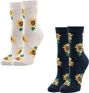Women's Novelty Sunflower You're My Sunshine Crew Socks for Girls Mother's Gift